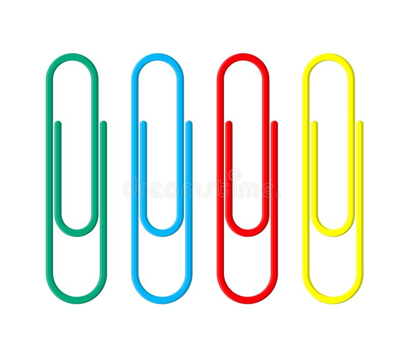 Grampos de papel coloridos Clothespin de escritório ilustração stock