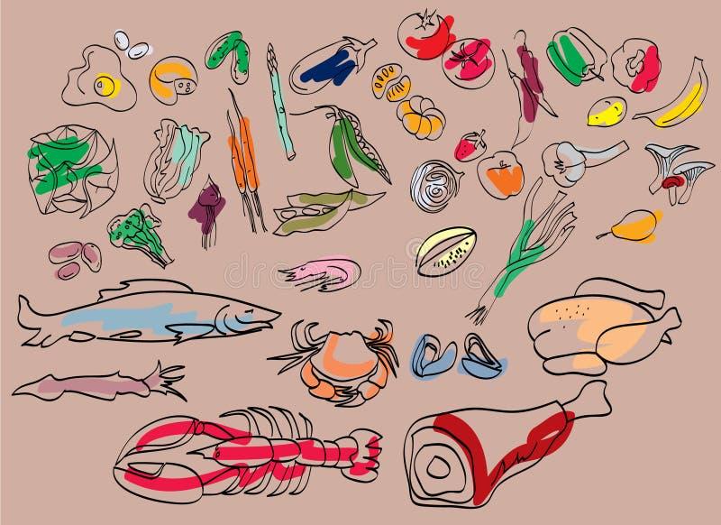 Grampos do alimento ilustração do vetor