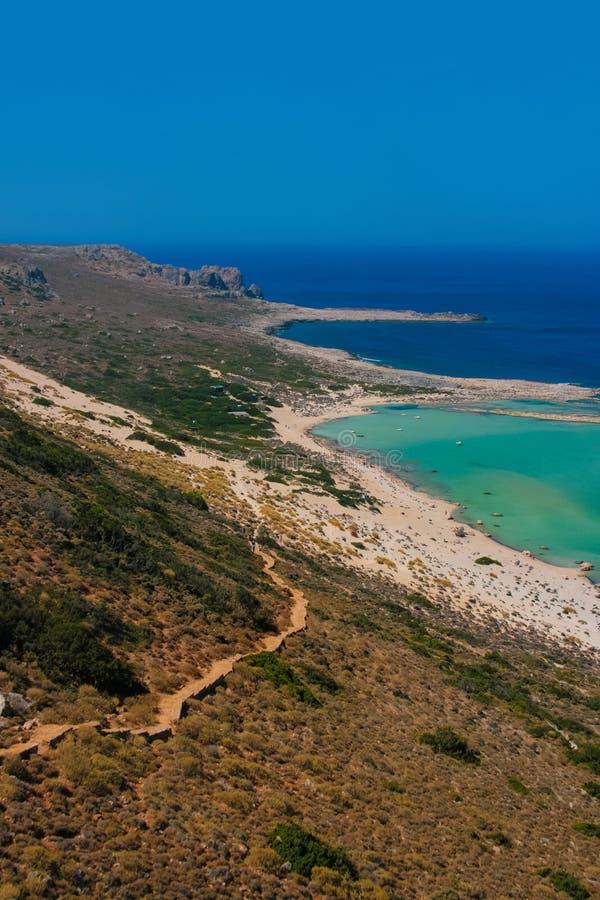 Gramvousa海岛和Balos盐水湖克利特的 库存照片