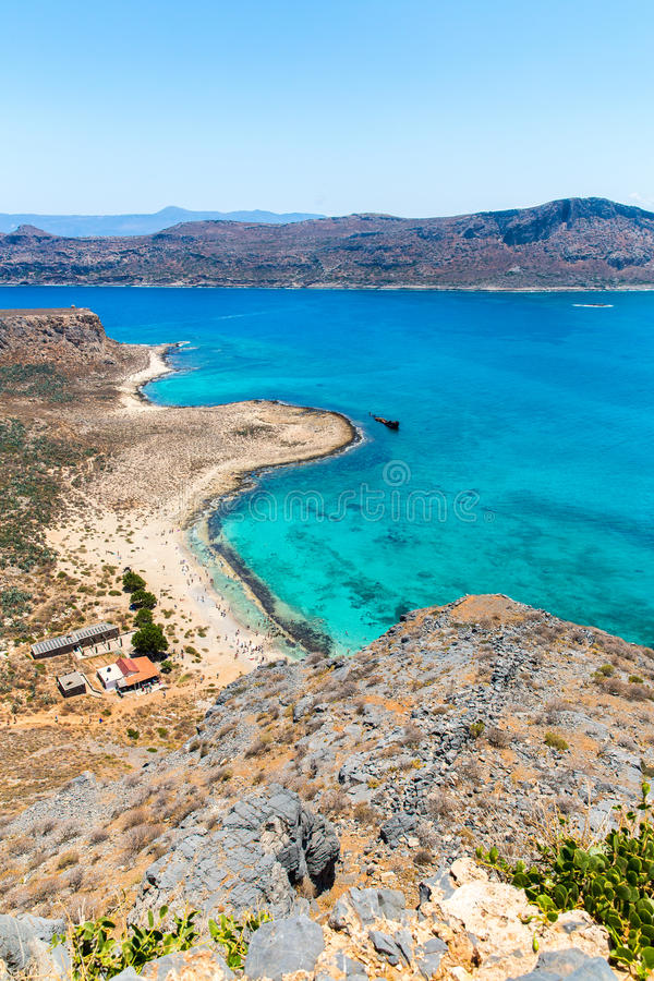 Gramvousa Island Near Crete, Greece. Balos Beach. Magical Turquoise Waters, Lagoons, Beaches Stock Photo