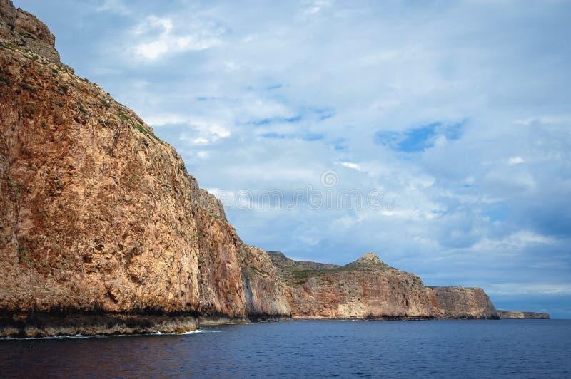 Gramvousa Peninsula in Greece. Rocky sea shore of Gramvousa Peninsula on the Crete Island in Greece stock image