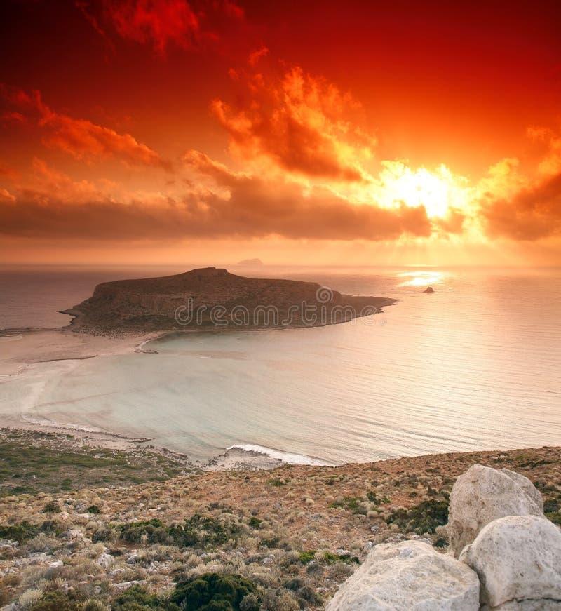 Gramvousa Sonnenuntergang lizenzfreie stockbilder