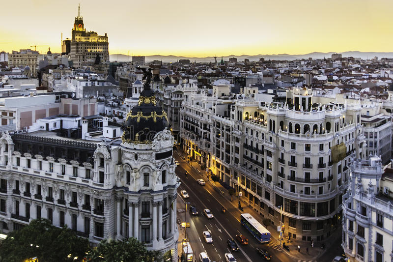 Gran全景通过,马德里,西班牙。 库存图片