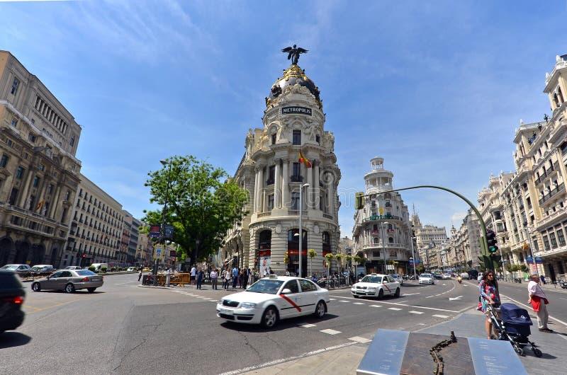 Gran著名大都会大厦通过,马德里 库存照片