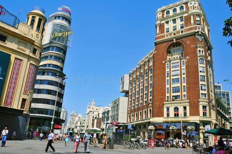 Gran通过和广场卡亚俄在马德里,西班牙 库存照片