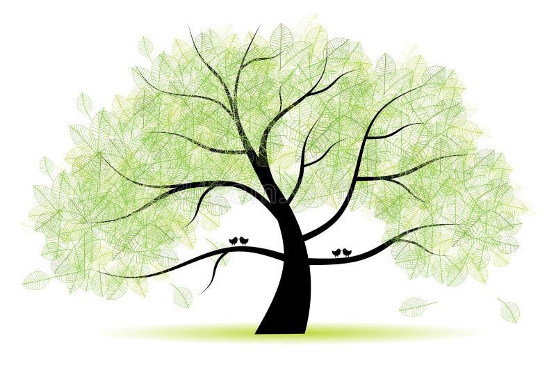 Gran árbol viejo para su diseño stock de ilustración