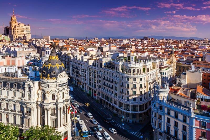 Gran μέσω της οδού, Μαδρίτη στοκ εικόνες με δικαίωμα ελεύθερης χρήσης