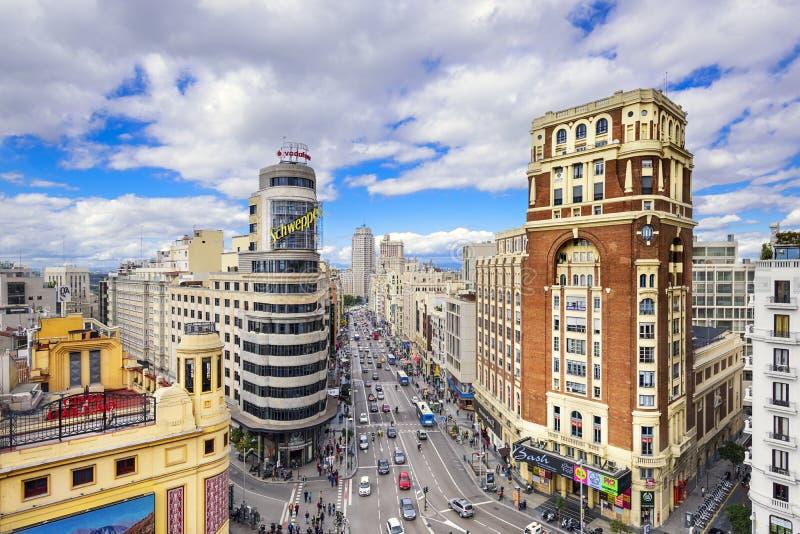 Gran μέσω, Madird, εικονική παράσταση πόλης της Ισπανίας στοκ φωτογραφίες με δικαίωμα ελεύθερης χρήσης
