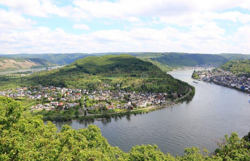 Gran arco del valle del Rin cerca de Boppard, Alemania. foto de archivo libre de regalías