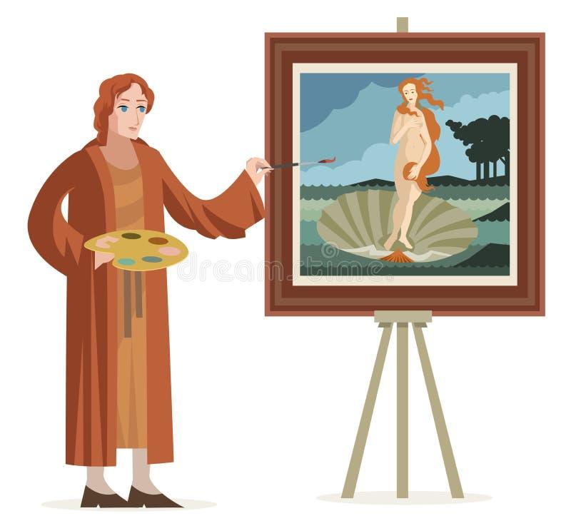 Gran artista italiano del renacimiento que pinta a una mujer del pelirrojo del venus en una cáscara fotografía de archivo