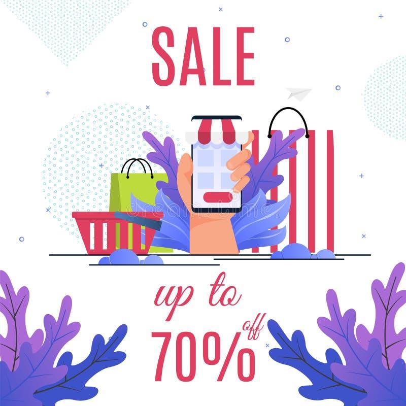 Gran asunto de las ventas de la bandera de la tienda en línea ilustración del vector