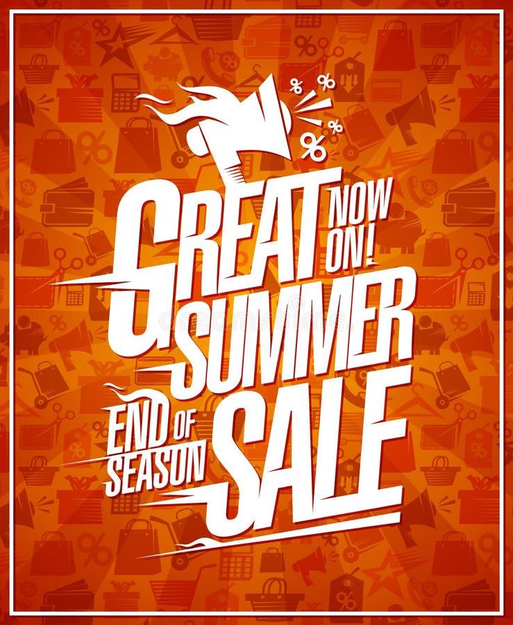 Gran bandera de la venta del verano, finales del cartel de los descuentos de la estación ilustración del vector