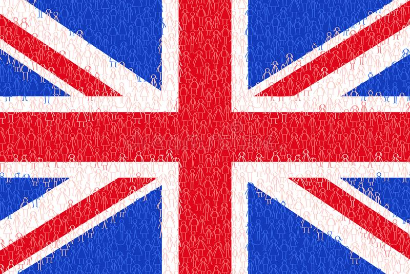 Gran Breta?a, bandera con la gente del palillo, los ciudadanos, el gr?fico conceptual, la muchedumbre de hombres blancos y azules ilustración del vector
