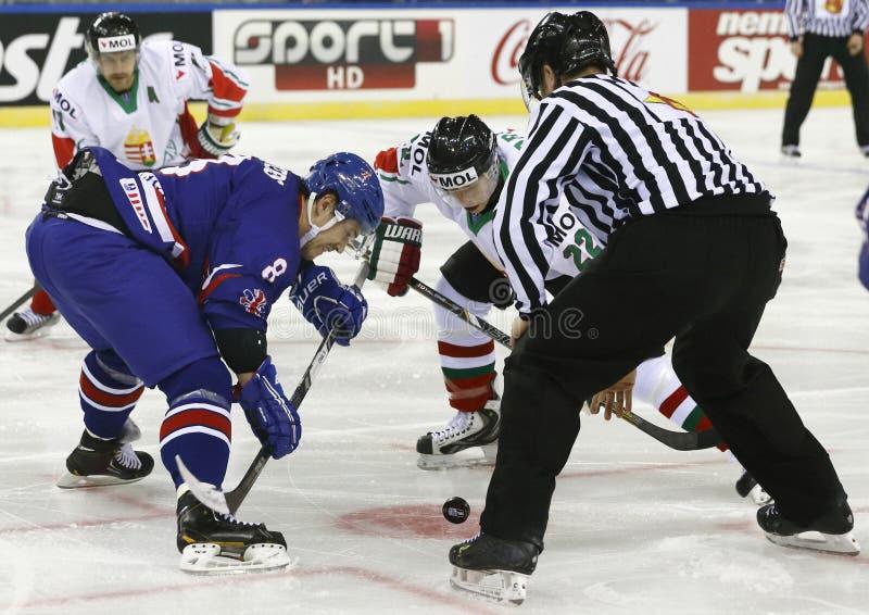 Gran Bretaña contra la estera del hockey sobre hielo del campeonato del mundo de Hungría IIHF foto de archivo