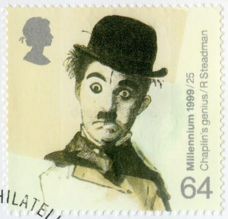 GRAN BRETAÑA - 1999: muestra el retrato de Charlie Chaplin 1889-1977, logros británicos de la serie durante más allá de 1000 años fotografía de archivo