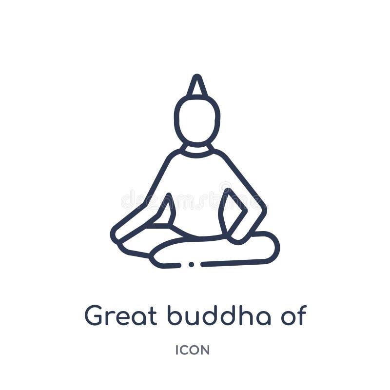 Gran Buda linear del icono de Tailandia de la arquitectura y de la colección del esquema del viaje Línea fina gran Buda del vecto libre illustration