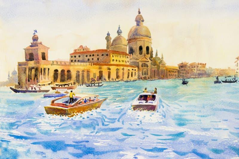 Gran Canal en Venecia, Italia libre illustration