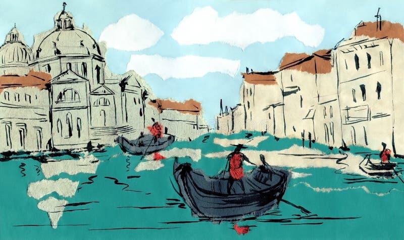 Gran Canal veneciano ilustración del vector