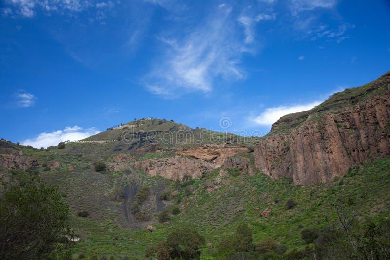 Gran Canaria, Caldera de Bandama nach Winter regnet stockfoto