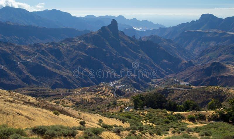 Gran Canaria, Caldera de Tejeda, eftermiddagljus arkivfoto