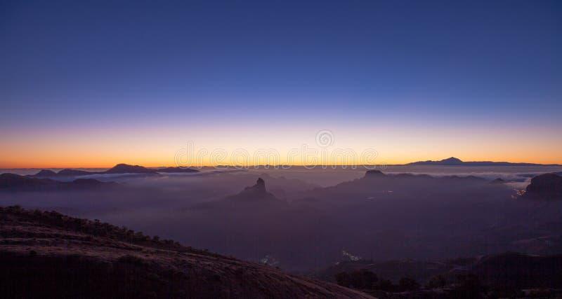 Gran Canaria, Caldera de Tejeda, solnedgång royaltyfri foto