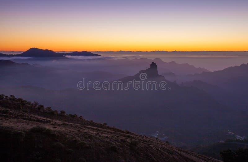 Gran Canaria, Caldera de Tejeda, solnedgång royaltyfri bild