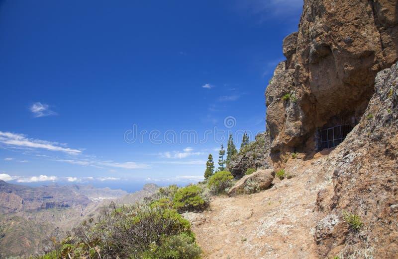 Gran Canaria, Cuevas de Caballero på Risco Chapi royaltyfri bild