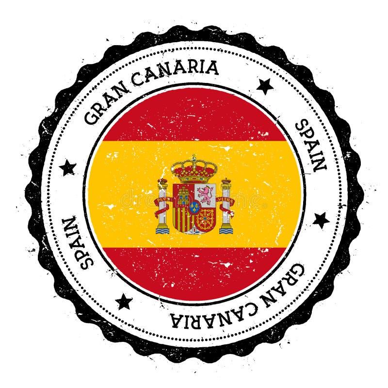 Gran Canaria flaggaemblem stock illustrationer