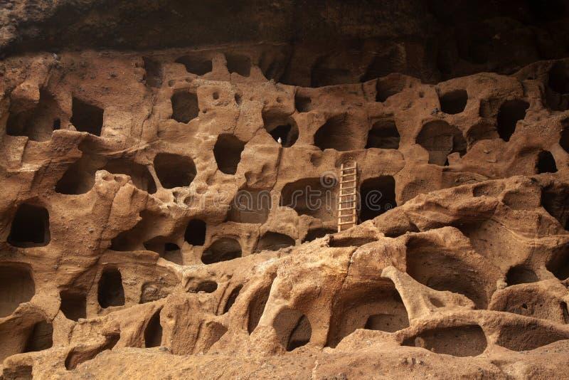 Gran Canaria, grottor av Valeron arkivfoto
