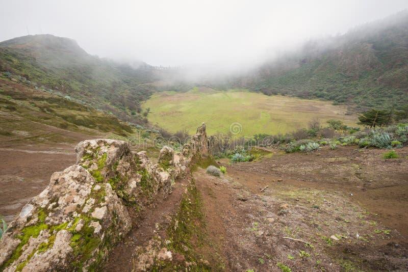 Gran Canaria landskap, vulkanisk krater, caldera de los Marteles arkivbild