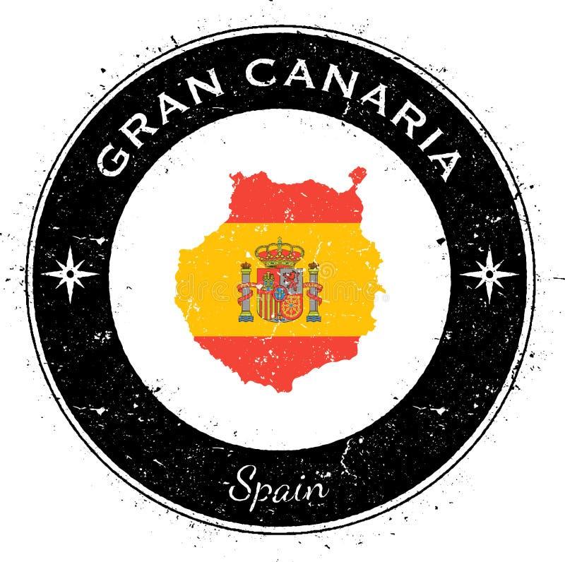 Gran Canaria runt patriotiskt emblem royaltyfri illustrationer