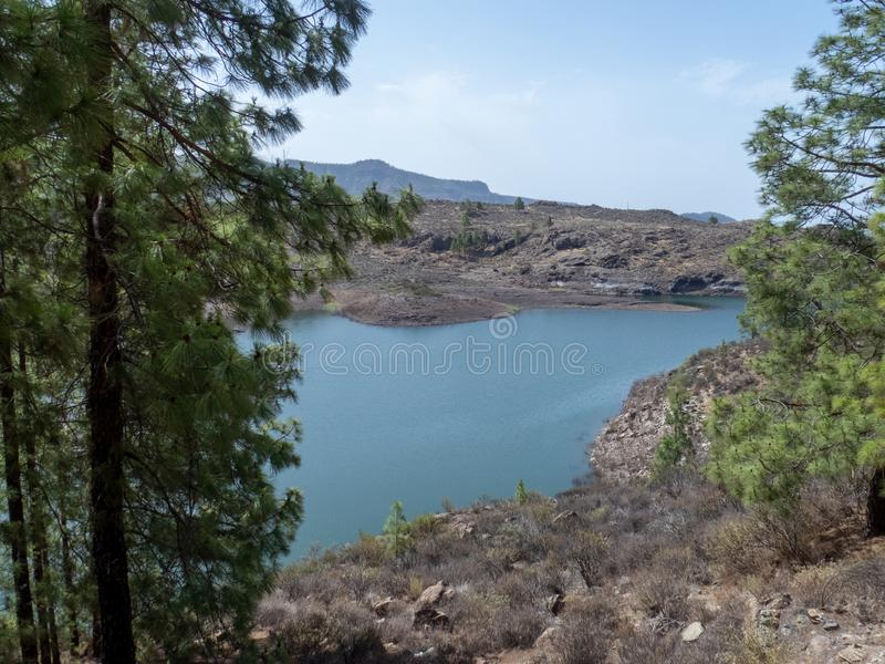 Embalse de Chira lake in Gran Canaria island, Canary Islands. Gran Canaria is the second most populous of the Canary Islands, an archipelago off the Atlantic stock photography