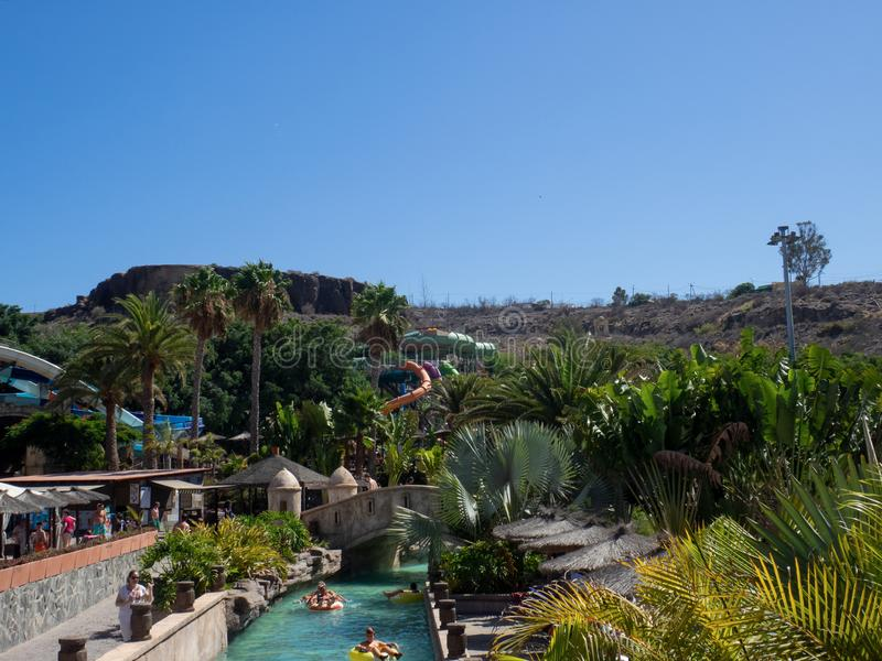 Aqualand park in Maspalomas, Gran Canaria. Gran Canaria/Spain - August 20 2019: Aqualand is a chain of Spanish water-amusement parks. Maspalomas  is a tourist royalty free stock image