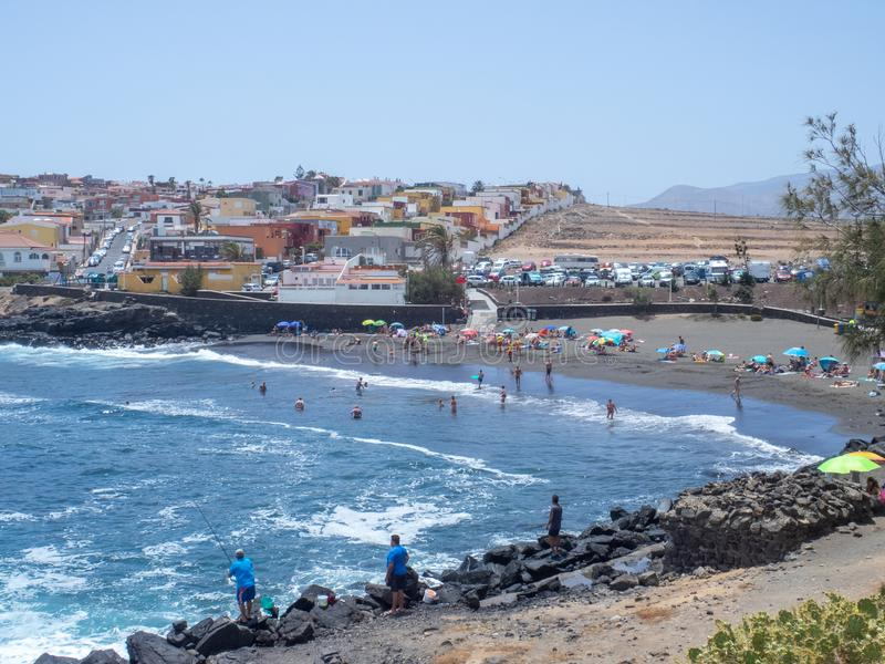 La Garita beach, Gran Canaria. Gran Canaria/Spain - August 15 2019: La Garita is one of the most popular beaches in the municipality of Telde royalty free stock images