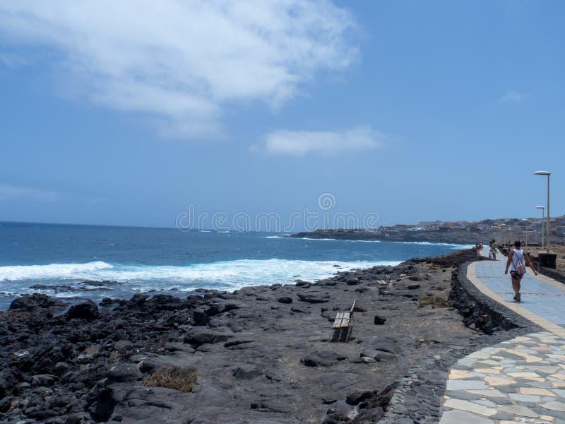 La Garita beach, Gran Canaria. Gran Canaria/Spain - August 15 2019: La Garita is one of the most popular beaches in the municipality of Telde royalty free stock photos