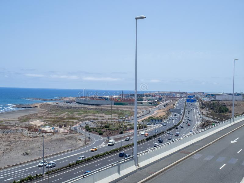 Las Arenas commercial Centre, Las Palmas. Gran Canaria/Spain - August 9 2019: Las Arenas commercial centre in Las Palmas and CG2 highway stock photo