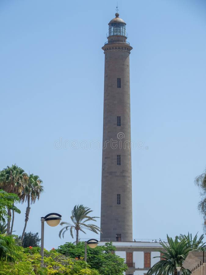 Maspalomas Lighthouse, Gran Canaria. Gran Canaria/Spain - August 8 2019: The Maspalomas Lighthouse is an active 19th century lighthouse at the southern end of stock images
