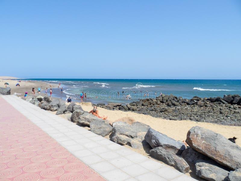 Maspalomas beach, Gran Canaria. Gran Canaria/Spain - August 8 2019: Maspalomas  is a tourist town in the south of the island of Gran Canaria, Canary Islands stock photography