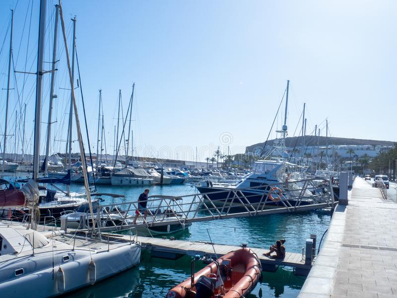 Marina in Puerto Rico de Gran Canaria. Gran Canaria/Spain - August 13 2019: Puerto Rico de Gran Canaria is a holiday resort situated on the south-west coast of stock photo