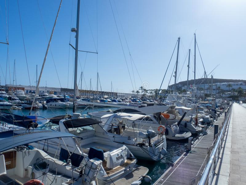 Marina in Puerto Rico de Gran Canaria. Gran Canaria/Spain - August 13 2019: Puerto Rico de Gran Canaria is a holiday resort situated on the south-west coast of royalty free stock images