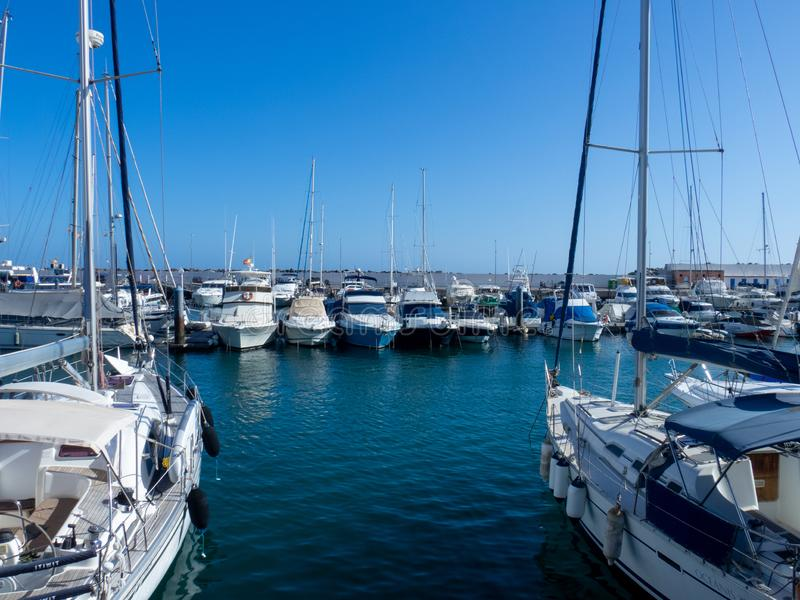 Marina in Puerto Rico de Gran Canaria. Gran Canaria/Spain - August 13 2019: Puerto Rico de Gran Canaria is a holiday resort situated on the south-west coast of stock photography