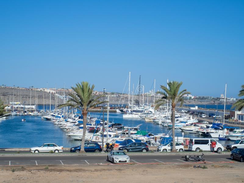 Marina in Puerto Rico de Gran Canaria. Gran Canaria/Spain - August 13 2019: Puerto Rico de Gran Canaria is a holiday resort situated on the south-west coast of royalty free stock photo