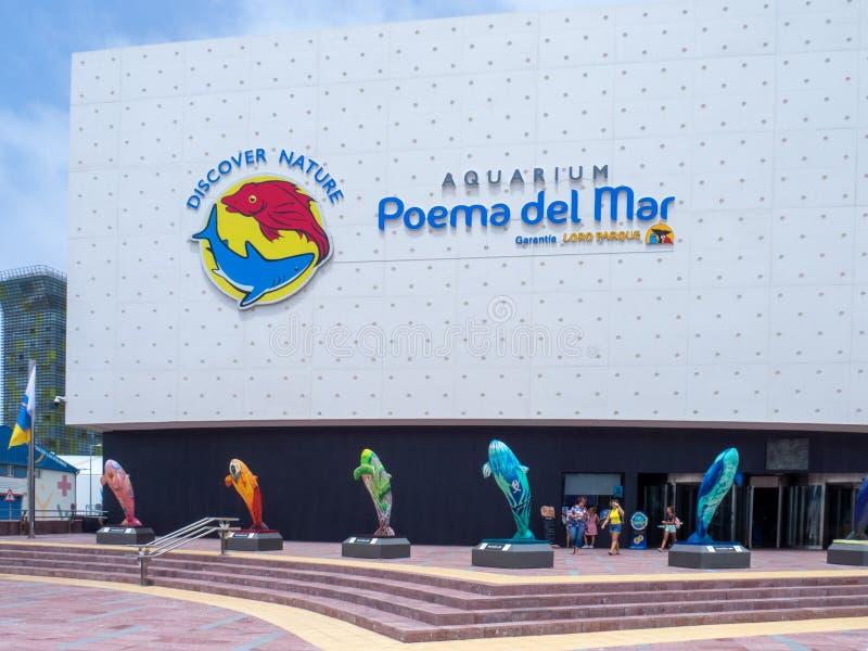 Poema del Mar Aquarium, Gran Canaria. Gran Canaria/Spain - August 16 2019: View of the Aquarium Poema del Mar building in Gran Canaria royalty free stock photos
