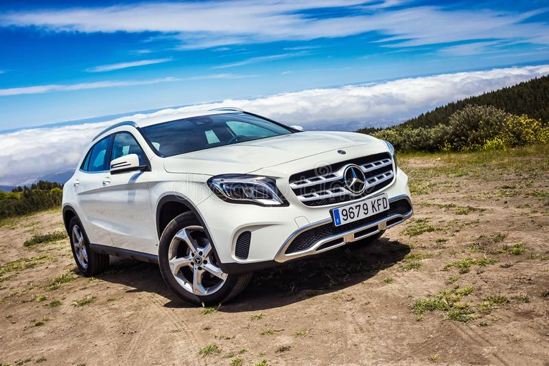Gran Canaria, Spain - May 12, 2018. Mercedes-Benz GLA test drive in Gran Canaria Island roads. Gran Canaria, Spain - May 12, 2018 . Mercedes-Benz GLA test drive royalty free stock photo