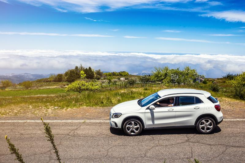 Gran Canaria, Spain - May 12, 2018. Mercedes-Benz GLA test drive in Gran Canaria Island roads royalty free stock photo
