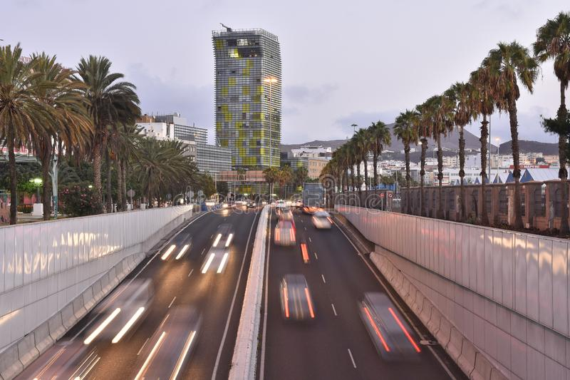 Modern skyscraper and highway Gran Canaria Spain royalty free stock image