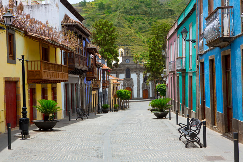 Gran Canaria Teror colorful facades royalty free stock images