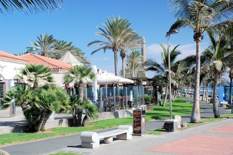Gran Canaria, Tourist resort Meloneras Maspalomas, Boulevard El Faro. Costa Meloneras, Tourist resort Maspalomas, south of the island of Gran Canaria, Boulevard stock photo