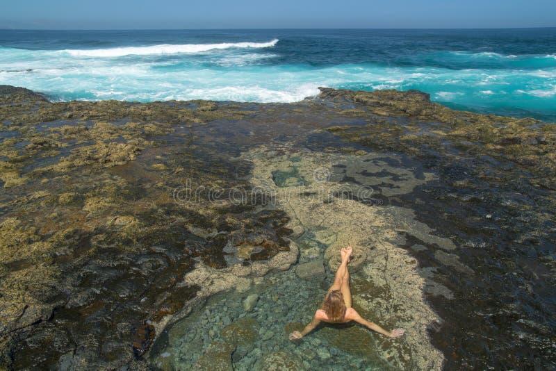 Gran Canaria, västra slut av stranden för El Confital royaltyfri foto