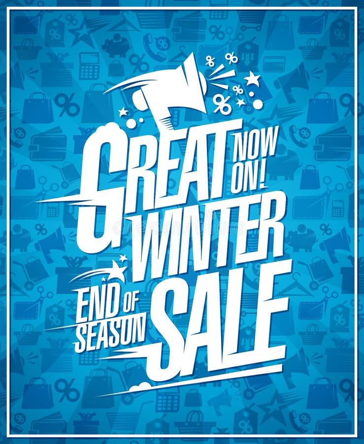 Gran cartel de la venta del invierno, finales de los descuentos de la estación libre illustration